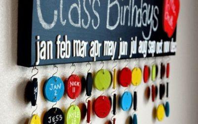 Szülinap az osztályban-születésnapi táblák a tanteremben.